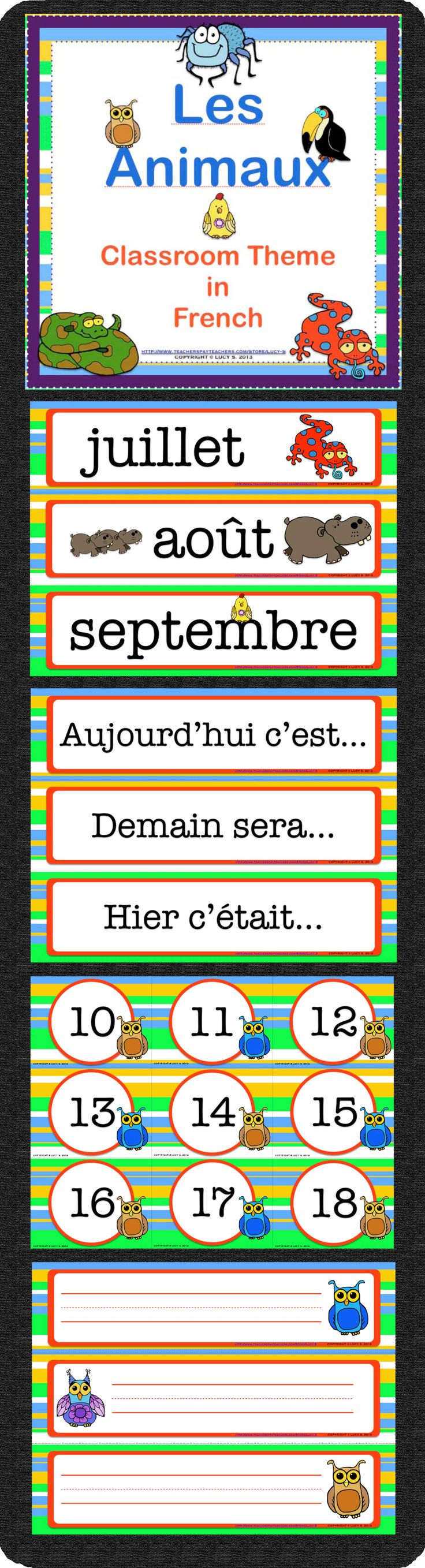 """$ """"Les Animaux"""" Classroom Theme. Get your classroom ready for the new school year. Click the pin to check out all the contents."""