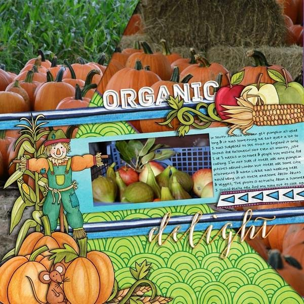 """Fall digital scrabooking layout created with """"Pick of the Patch"""" kit by Kate Hadfield. Ideas for autumn scrapbook pages! Layout by Creative Team member Cynthia"""