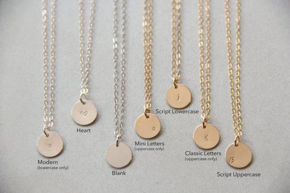 """Rose Gold or Sterling Silver 3/8"""" (9.5mm) Initial Necklaces 