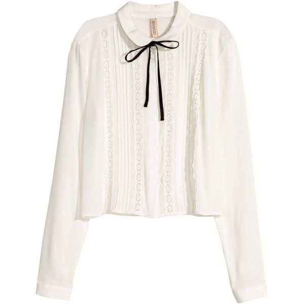 H&M Blouse with lace trims (140 AED) ❤ liked on Polyvore featuring tops, blouses, shirts, white, white peter pan collar shirt, white crop top, white long sleeve blouse, white peter pan collar blouse and long sleeve blouse