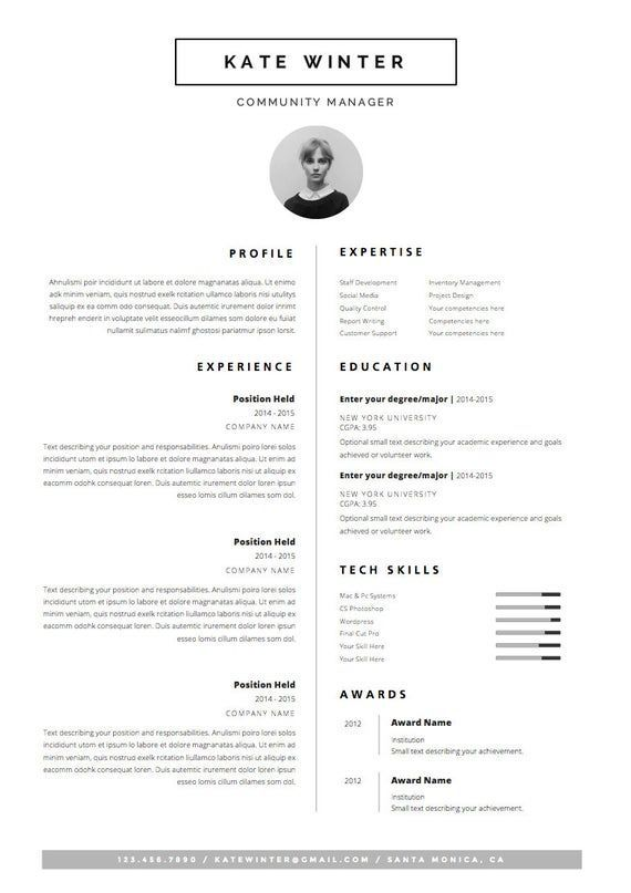 Minimalist Resume Template Cover Letter Icon Set For Microsoft Word 4 Side Package Professional Cv Instant Download The 2020 Ozgecmis Grafik Tasarim Tasarim