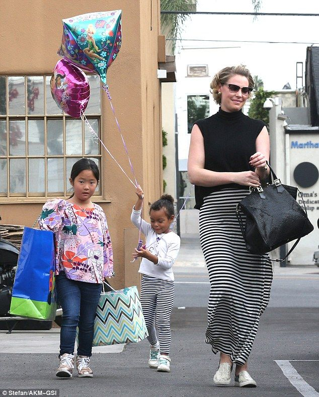 Growing family: The Grey's Anatomy alum was joined by her two daughters Naleigh, seven, and Adalaide, four