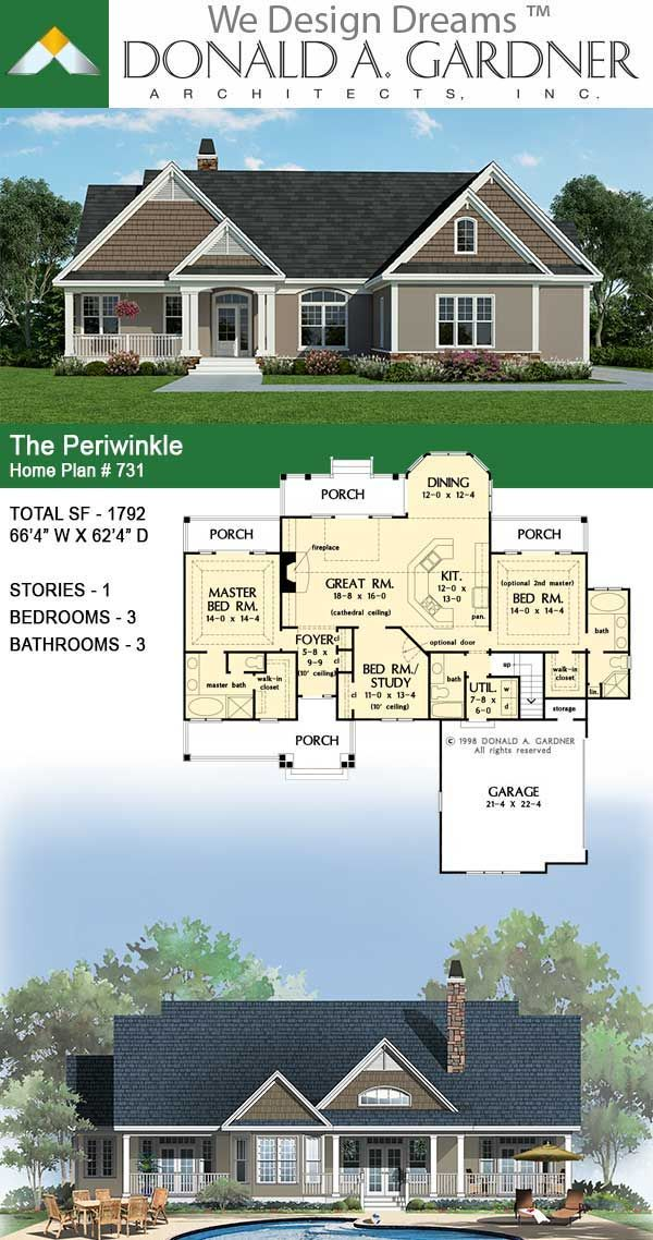 The Periwinkle Ranch Home Plan In 2020 Ranch House Plans Craftsman Style House Plans Mountain House Plans