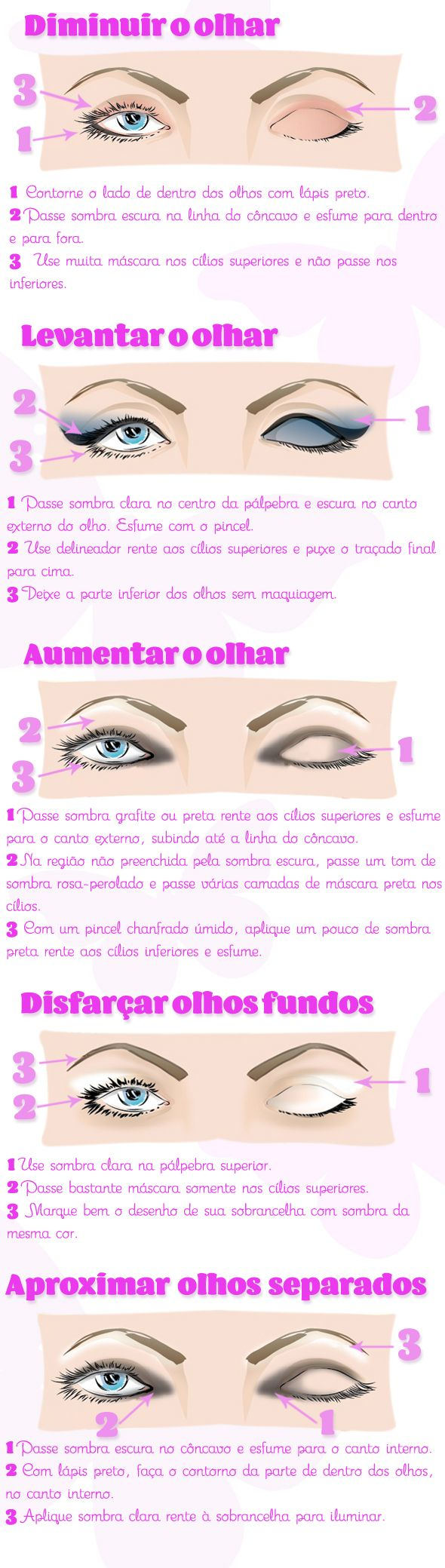 Ilustração com as dicas para disfarçar imperfeições com maquiagem                                                                                                                                                     Mais