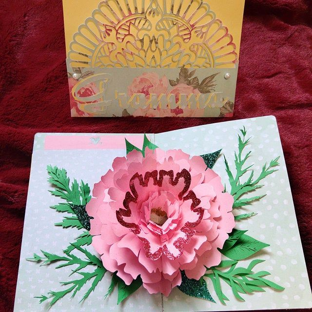3d Pop Up Greeting Card Diy Flower Pop Up Card Printable Etsy In 2021 Paper Flowers Paper Flower Template Paper Flowers Diy