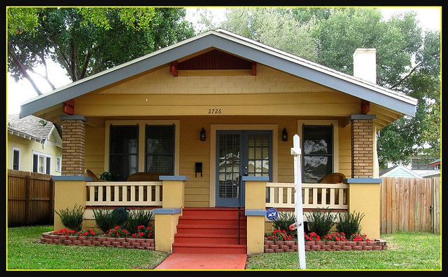Yellow Craftsman Bungalow House