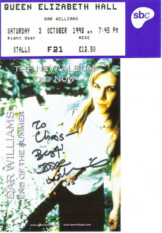 Dar Williams, Queen Elizabeth Hall, London, 3rd October 1998
