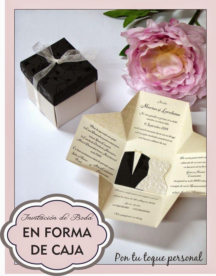 Pon tu toque personal: Invitación de boda original con forma de caja