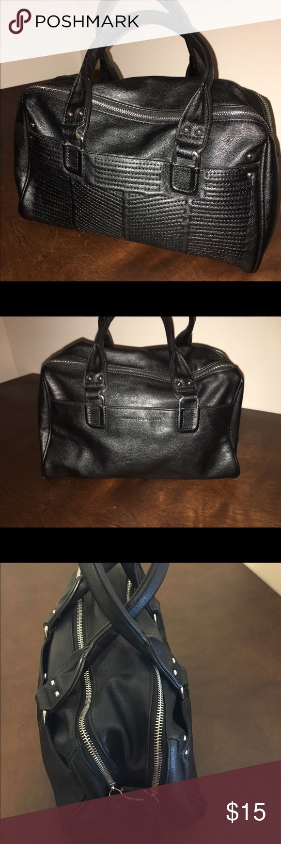 French Connection Bag A faux leather French Connection bag with beautiful detailed stitchings and silver hardware. It has two large compartments and two outer pockets on each side. It is missing the longer strap. French Connection Bags Totes