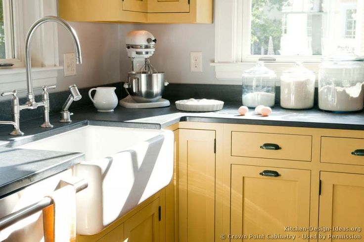 #Kitchen Idea of the Day: Rise & Shine! These yellow kitchens could brighten your day. (By Crown Point Cabinetry)