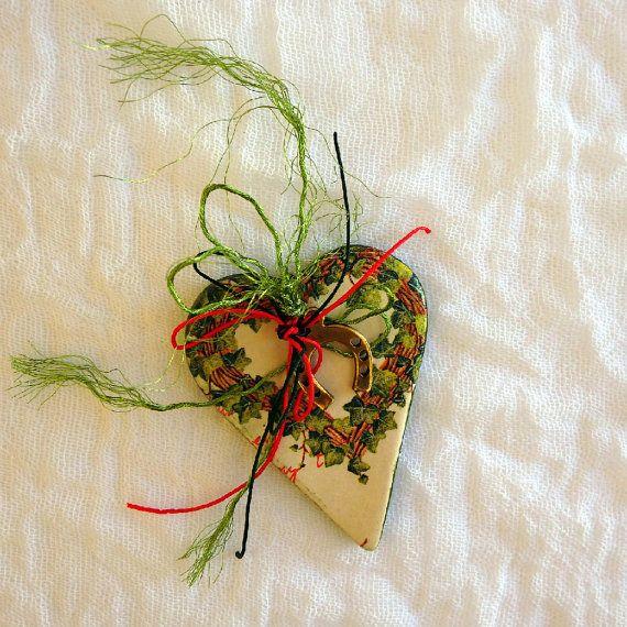 Christmas good luck charm Christmas tree decoration good luck gift ceramic ornament hanging Christmas heart decor