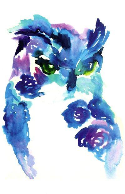 Blue Owl by Jessica Buhman #art #painting #watercolor #bird #nature