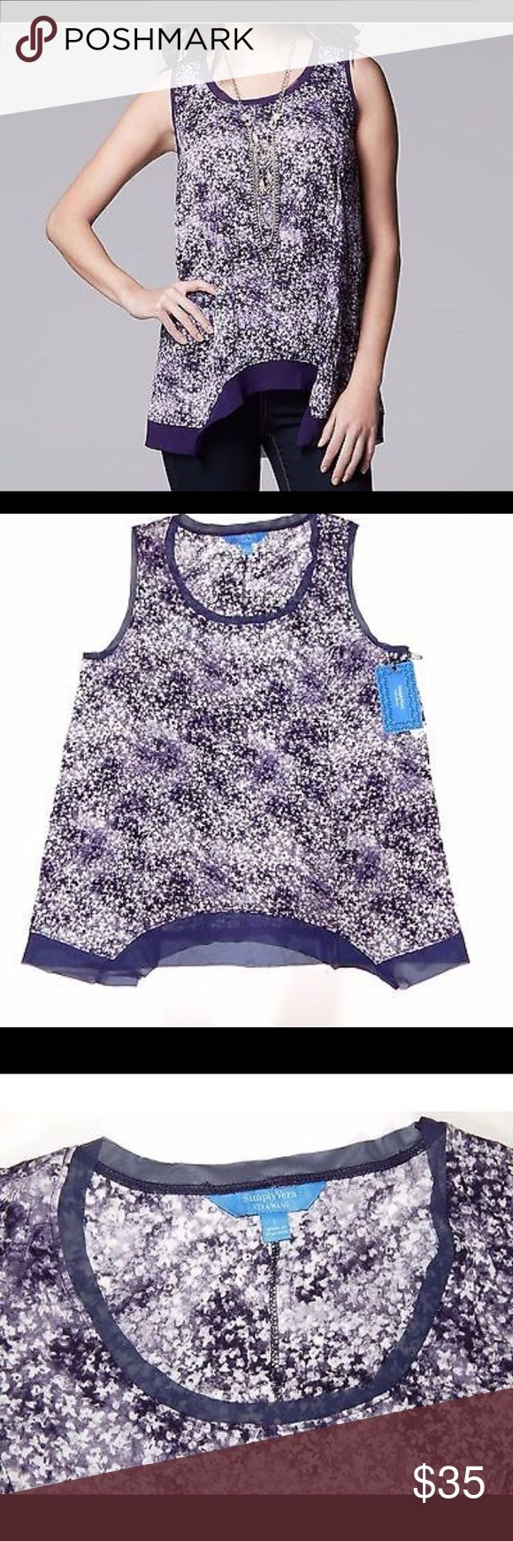 SIMPLY VERA WANG purple women's top Beautiful simply VERA WANG top new without tags ❤️makes me offers bundles discounts same day shipping ❤️happy purchase! Simply Vera Vera Wang Tops Camisoles
