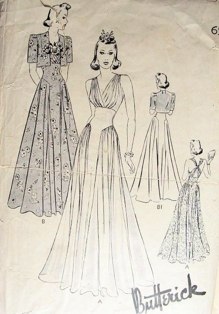 Butterick 8443. (1940s) Evening dress pattern. 20th Century Fashion  1940s | Big Fashion Show evening dress patterns
