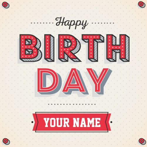 Vintage Birthday 3D Whatsapp Greeting With Your Name