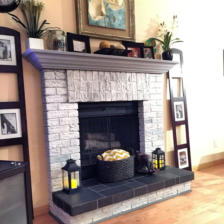 Whitewashed Fireplace Brick Painted The Mantle With
