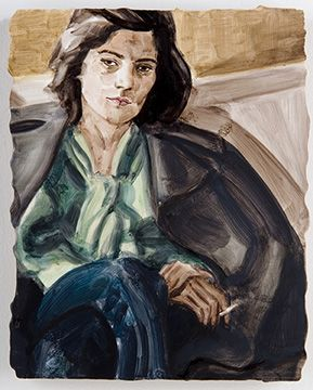 Susan Sontag (after H.C. Bresson's 'Susan Sontag, Paris, 1972') 2006 Oil on mdf 9 x 7 inches
