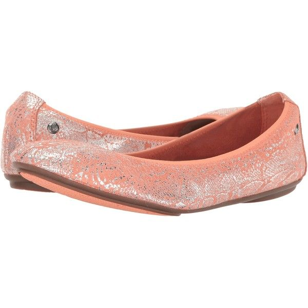 Hush Puppies Chaste Ballet (Peach Metallic Snake Suede) Women's Flat... ($56) ❤ liked on Polyvore featuring shoes, flats, orange, ballet shoes, ballerina flats, elastic ballet flats, studded ballet flats and suede ballet flats
