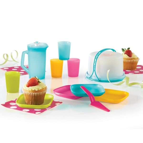 Tupperware 11-Pc. Mini Party Set:          Big fun for little ones. It's a mini-sized party that's full of life.Includes 8-oz./250 mL Mini Pitcher, four 2-oz./60 mL Mini Tumblers, four plates, Cutter/Server and Mini Cake Taker with domed seal and Cariolier™ handle.