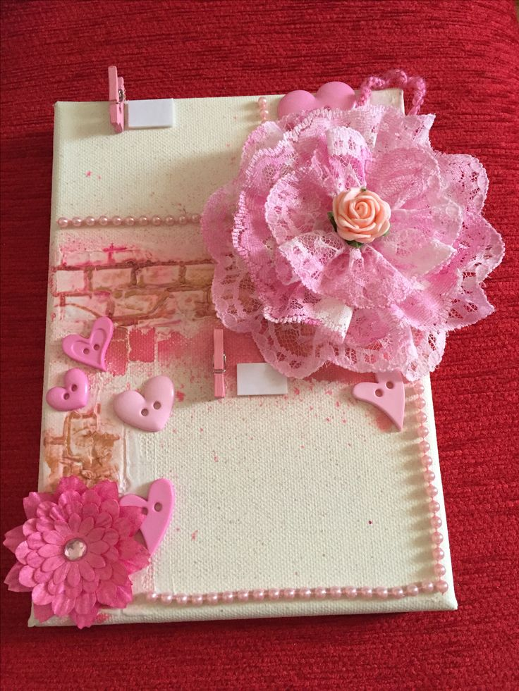 Baby girl photo frame on canvas