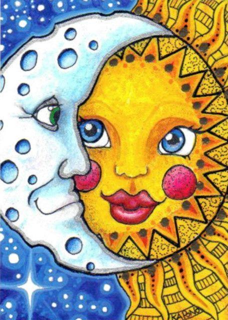 ACEO Celestial Sun and Moon by MandarinMoon, via Flickr