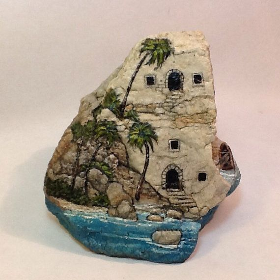 Peint à la main ISLAND PARADISE ROCK maison tropicale de décor de jardin miniature Pierre