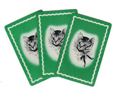playing cards with pictures of cats on | Vintage Kitten Playing Cards, Lot of 3, Sweet Cat on Green, Smash Book ...