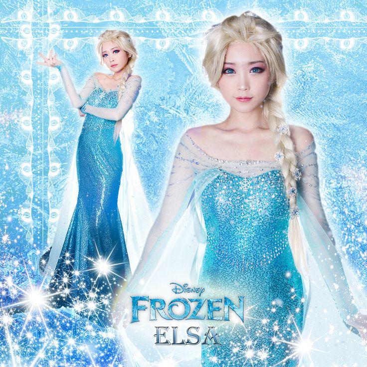 Disney Movie Frozen Elsa the Snow Queen Top Grade Cosplay Costume Dress