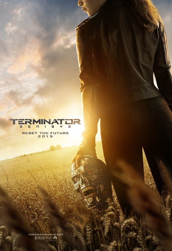 """Terminator: Genisys (2015) - Stars: Emilia Clarke, Jai Courtney, Arnold Schwarzenegger. After finding himself in a new time-line, Kyle Reese teams up with John Connor's mother Sarah and an aging terminator to try and stop the one thing that the future fears, """"Judgement Day""""."""