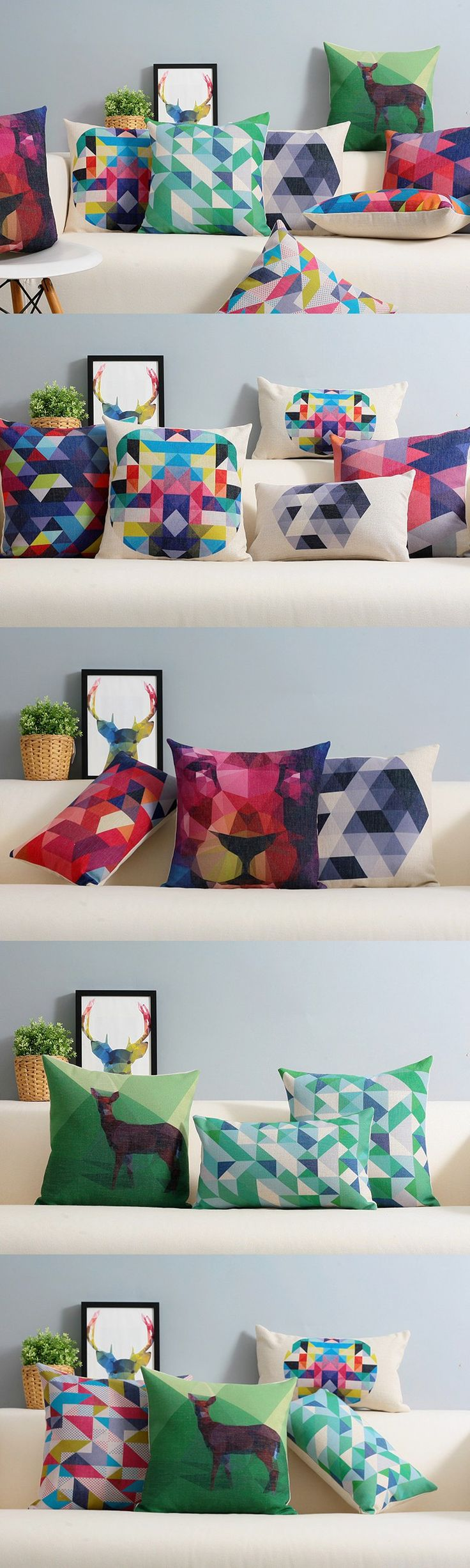 Color abstract Decorative Cushion Covers geometric minimalist Cushions Home Decor Nordic style colorful Cushions For Sofas $14.99