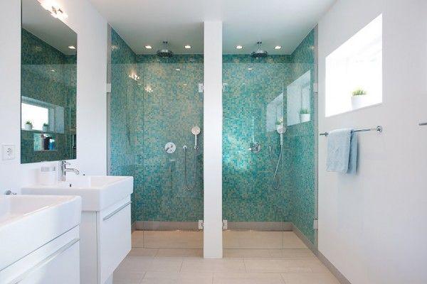moderne schwedische villa badezimmer mosaik fliesen