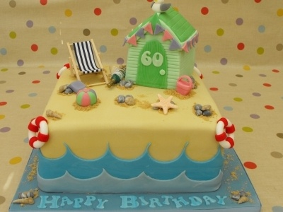60th Birthday Beach Cake By Gillw101 on CakeCentral.com