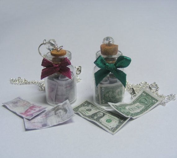 Money Bottle Miniature Food Necklace Pendant  by NeatEats on Etsy, £11.99