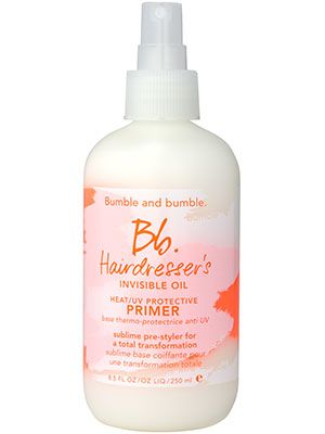 This Bumble and Bumble light spray oil protects hair from heat and UV damage....