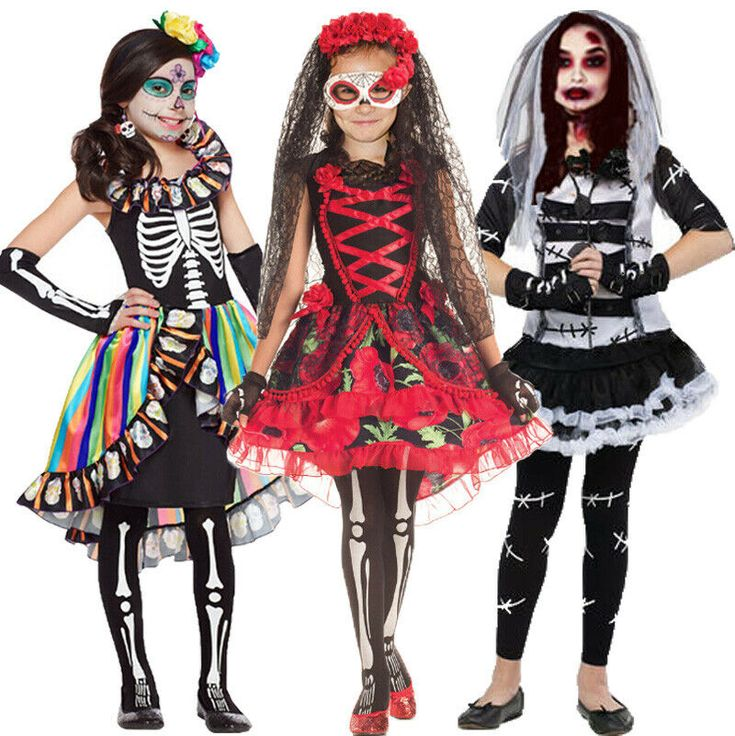 Girls Halloween Day of The Dead Fancy Dress Costume Kids