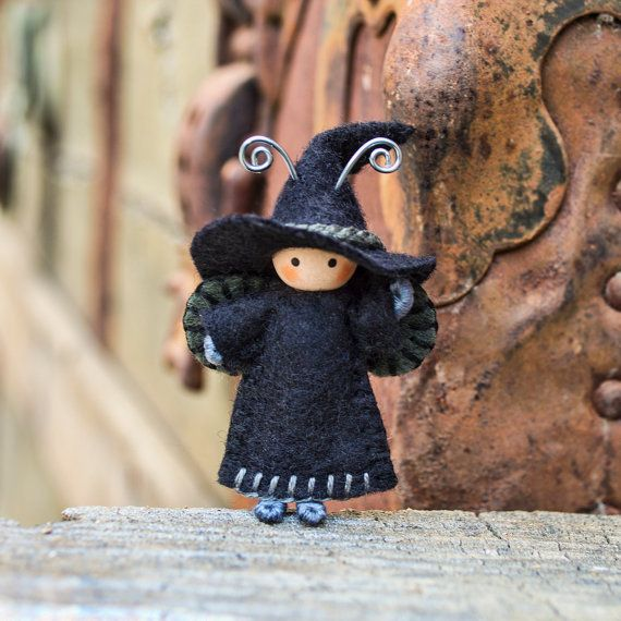 Importiant!!! This is a pre-order item. It will ship 5 to 7 business days after purchase. This is a sweet 2 inch Witch Bug! Do you want to help this Tiny Witch brew up some big spells? Because little Witch cant wait to brew some spells with you. This little bug is so cute! It is poseable and will hold onto objects. This 1.5 inch Bee is made VERY STURDY and made to be played with. THE WINGS ARE STITCHED TO THE BODY NICE AND SECURE. It doesnt stand alone.  This little Bug is made of wire…