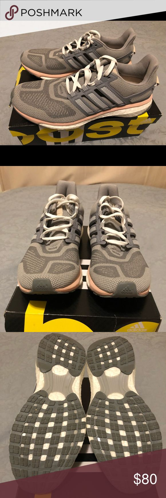 """Women's Adidas """"energy boost 3 w"""" - size 9 Worn once.  I purchased for $143.95 + tax, so my loss is your gain!  I prefer my Mizunos, so I never wear these. Great, light shoes.  Product Details The Adidas Women's Energy Boost 3 Running Shoes blend a flexible, adaptive techfit® upper with the plush, energy-filled ride of boost™. The result is a lightweight, neutral running shoe that will invigorate runners of every level, at any distance.  techfit® upper is engineered for natural, flexible…"""