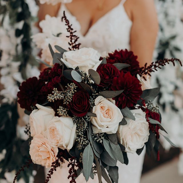 Wedding Flowers December: Navy Blue, Burgundy And Pops Of Blush Pink. All Of Maya's