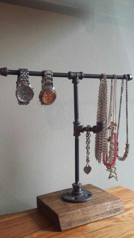 Industrial pipe jewelry stand || jewelry display || jewelry rack || reclaimed wood || industrial chic