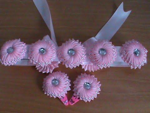 Пояс и заколочки с цветами канзаши для маленьких принцесс
