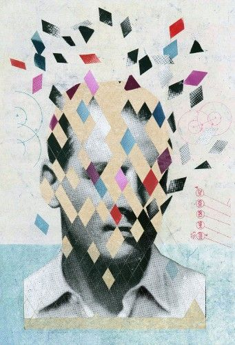 Martin O'Neill - Collage trend, fractured appearance, block coloring, photography and vector shapes combined, textured background