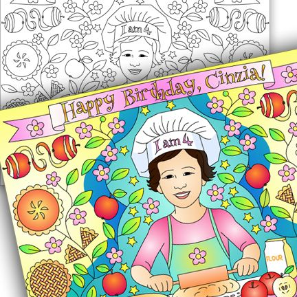 Nicole's party coloring pages: BAKING PARTY * CUSTOM COLORING PAGE
