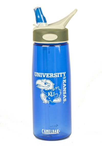 You'll never be thirsty if you carry around this Kansas Jayhawks 750ml Better Bottle Blue Camelbak! Featuring University of Kansas and Jayhawk logos, this bottle is perfect for any Jayhawk fan living an on-the-go lifestyle. Its valve opens with a bite and closes automatically, making it easier for you to stay hydrated and spill-free. * Love mine!*
