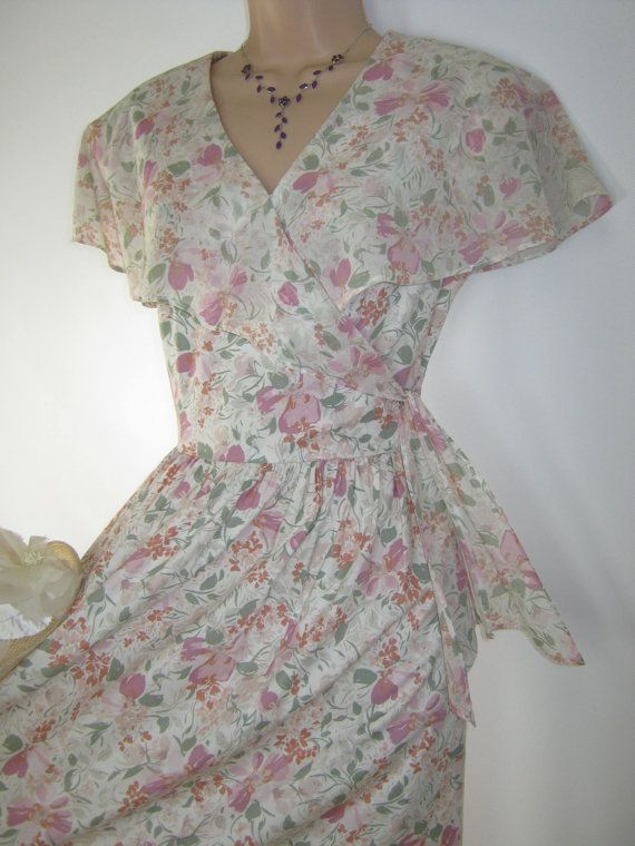 LAURA ASHLEY Vintage Country Viola Shawl Collar Summer / Tea Dress, UK 12