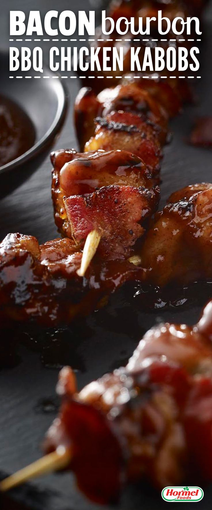 Bacon lovers and chicken lovers rejoice with the delicious combo in these Bacon Bourbon BBQ Chicken Kebabs.