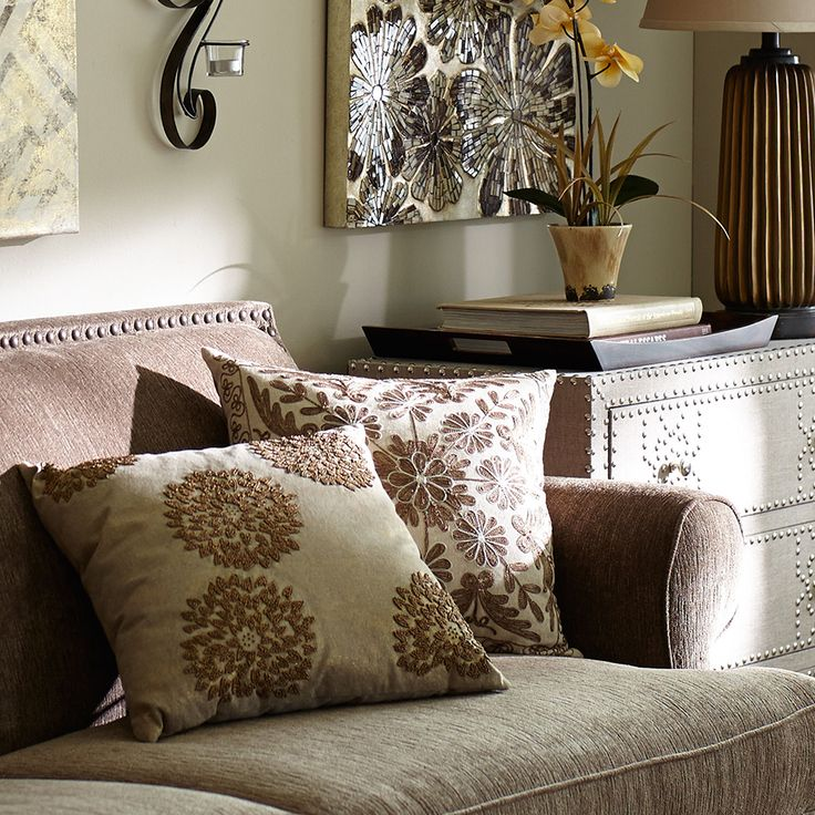 Keep fall mums around a little longer with a pillow of hand-stitched beads.