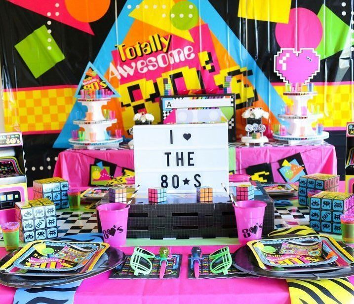 It's totally 80's! @sweetlychicevents is totally bringing the 80's with this throw back party. So grab your boombox and head over to see more details. #80sthemeparty #totally80s #thatsso80s #flashback #themeparty #partyideas #fun365 #orientaltrading