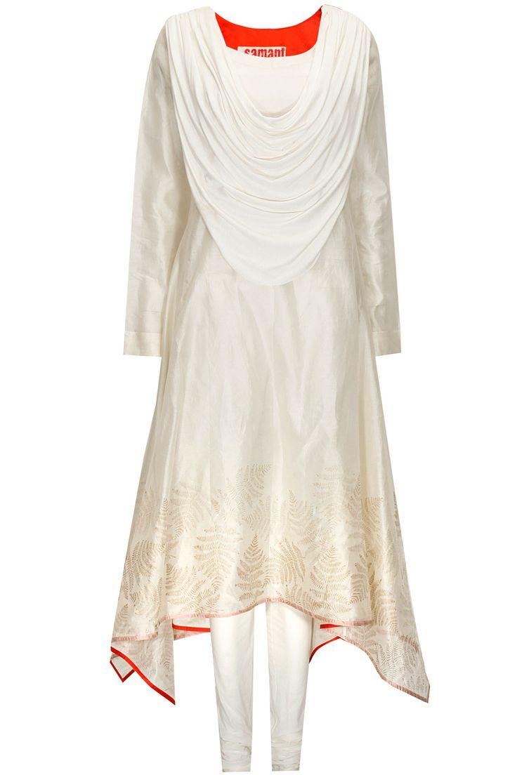 Ivory draped dupatta translucent kurta set by Samant Chauhan. Shop now: http://www.perniaspopupshop.com/designers/samant-chauhan #kurta #samantchauhan #shopnow #perniaspopupshop