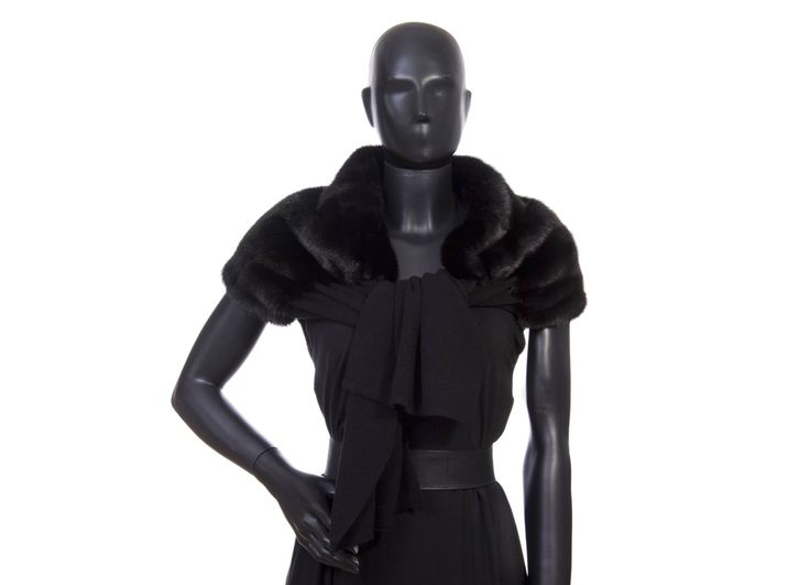 Stola cashmere nera visone nero cashmnere 100% misura cm. 35 x 170