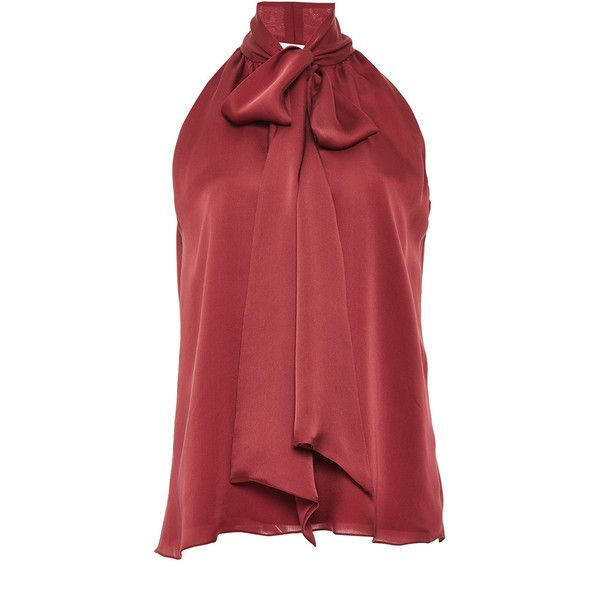 Prabal Gurung Garnet Silk Satin Tie Neck Blouse ($675) ❤ liked on Polyvore featuring tops, blouses, prabal gurung, sleeveless neck tie blouse, neck tie blouse, red tie neck blouse, red blouse and neck ties